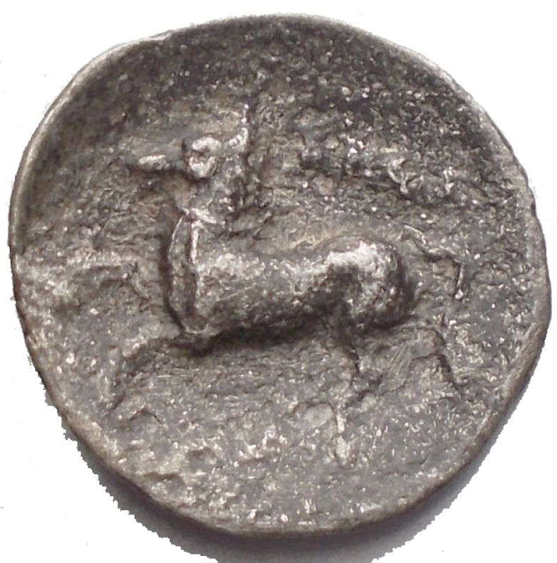 obverse: Mondo Greco - Apulia, Arpi.AR Diobol, c. 325-275 BC.D/ Head of Athena right, wearing Attic helmet decorated with hippocamp.R/ APA retrograde.g 0,62.mm 12,6. aVF. Rare