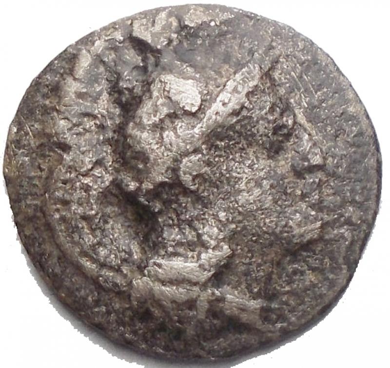 reverse: Mondo Greco - Apulia, Arpi.AR Diobol, c. 325-275 BC.D/ Head of Athena right, wearing Attic helmet decorated with hippocamp.R/ APA retrograde.g 0,62.mm 12,6. aVF. Rare