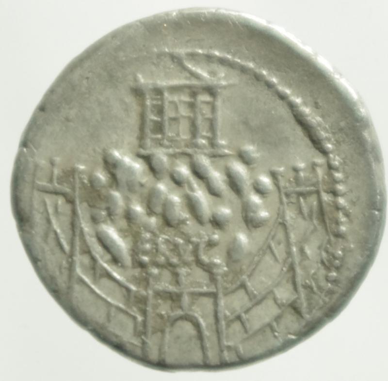 reverse: Repubblica Romana. C. Considius Nonianus. Denario, 57 a.C. D/ C. CONSIDI NONIANI. Busto laureato e diademato di Venus Erycina a destra. Davanti, S.C. R/ Colle pietroso circondato da mura con torri e porta fortificata. Sulla cima, tempio a quattro colonne. Sopra la porta, ERVC. Cr. 424/1. B.1. AG. g. 3.65 mm. 19.00 RR.qSPL. Raro. Bellissima delicata patina di monetiere
