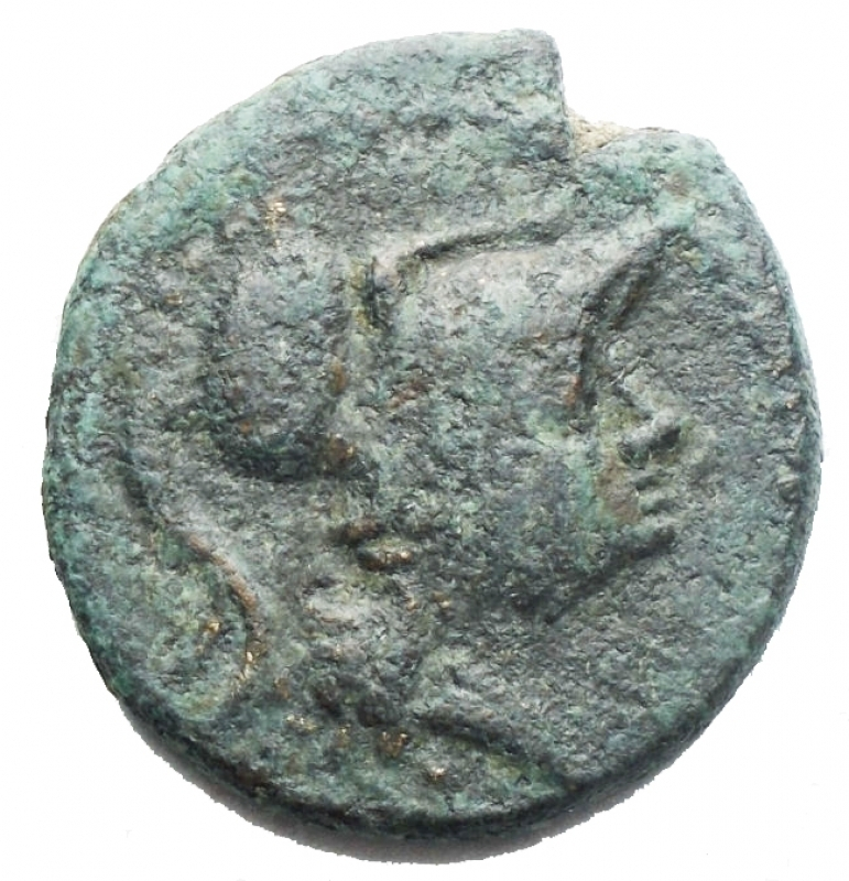 obverse: Mondo Greco -Apulia. Teate.225-220 a.C.Biuncia.AE.D/ Testa di Athena a destra.R/ TIATI. Civetta stante a destra, con la testa di fronte, davanti palma. In esergo due globetti.Pesog 4,16. Diametromm 17,68. BB+. Patina