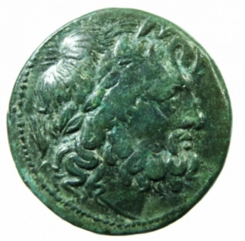 obverse: Mondo Greco. Bruttium. I Bretti. 215-205 a.C. Oncia. AE. D/ Testa di Zeus a destra. R/ Aquila stante a sinistra su fulmine. SNG ANS 3. Peso gr. 6,20 Diametro 21,00 mm. Bel BB+.