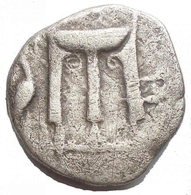 obverse: Mondo Greco - Bruttium. Crotone. (Circa 500-490 AC). Nomos. D/ Tripode, gambe terminante a zampe di leone; cicogna a sinistra. R/ Incuso. AR. 7,44 gr. Attianese 45; SNG ANS 259; HN Italy 2102. qBB