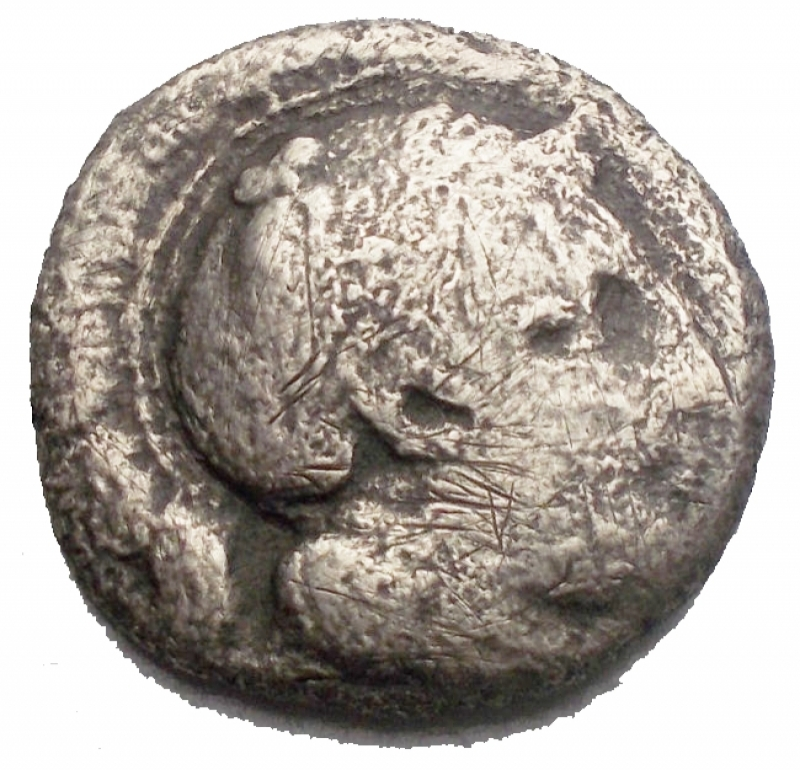 obverse: Mondo Greco - Campania. Hyria. Nomos. ca 405-385 aC. d/ Atena a ds r/ Toro androcefalo a sn. HNItaly 539. g 5,9. mm 18,5. MB. R