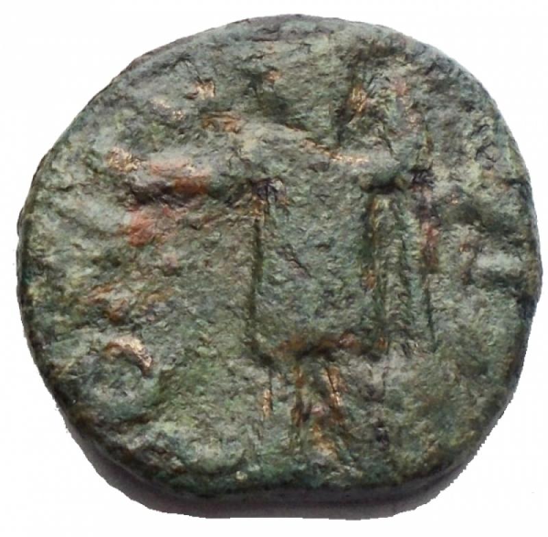 reverse: Mondo Greco - Zecca Incerta. Ae g 3,54. mm 15,61 x 16,06. d/ Sileno a sn r/ Guerriero a sn. BB. Patina verde. R