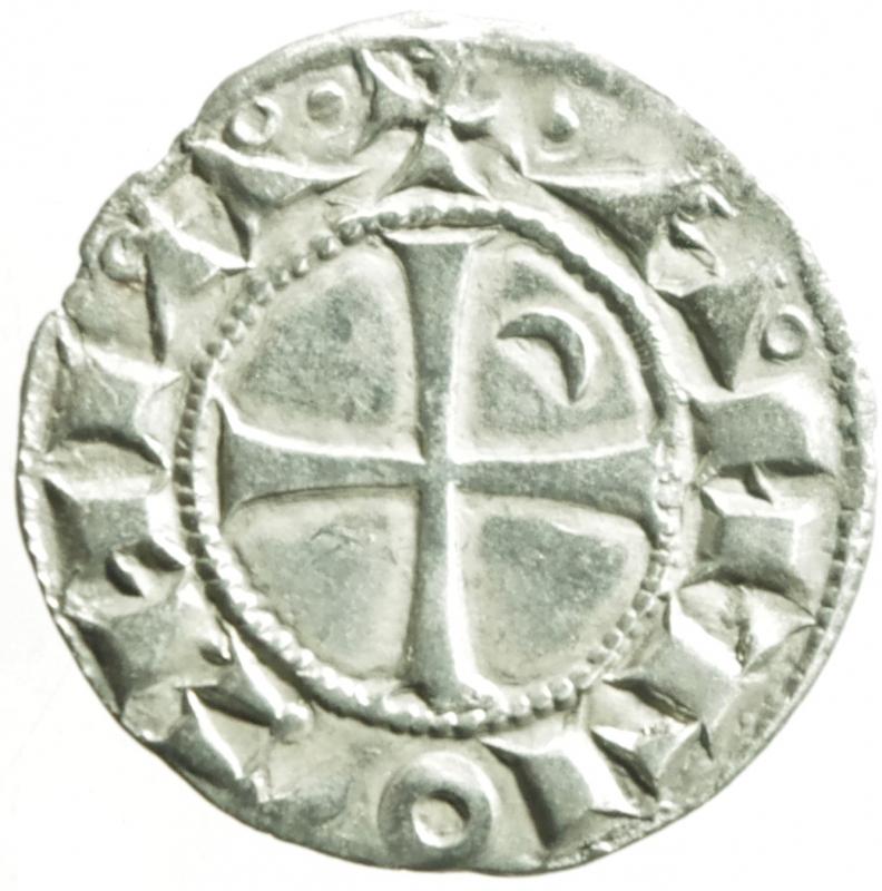 reverse: Oriente Latino.Antiochia. Boemondo III (1163-1201). Denaro tornese. Schl. tav. III, 4 (Boemondo IV). Malloy 66e. Allen type 1c. MI. g. 0.87 mm. 18.70 .SPL.