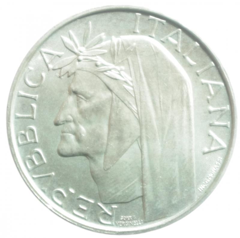obverse: Repubblica Italiana. 500 Lire 1965. Dante Alighieri. Ag. Gigante 42. FDC