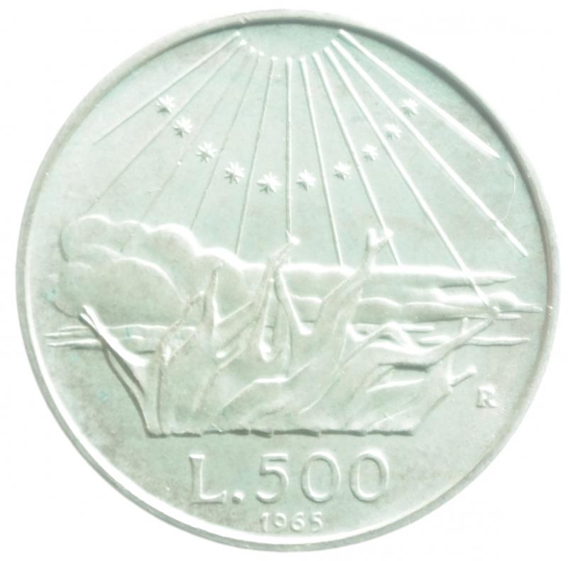 reverse: Repubblica Italiana. 500 Lire 1965. Dante Alighieri. Ag. Gigante 42. FDC