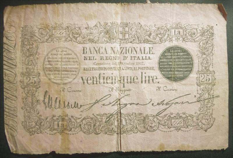 obverse: Cartamoneta.Regno d Italia, Vittorio Emanuele II. BANCA NAZIONALE NEL REGNO D ITALIA, 25 LIRE. 30 ottobre 1867, 3, Firme: Castello, Nigra, Nazari, qBB (RR)