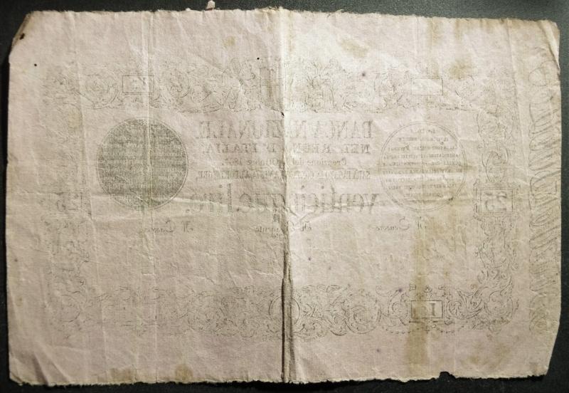 reverse: Cartamoneta.Regno d Italia, Vittorio Emanuele II. BANCA NAZIONALE NEL REGNO D ITALIA, 25 LIRE. 30 ottobre 1867, 3, Firme: Castello, Nigra, Nazari, qBB (RR)