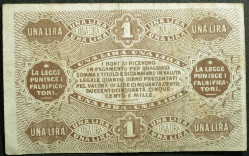 reverse: Banconote. Banca di Romagna Bologna. Biglietto fiduciario da 1 Lira. 24/06/1872. Rif. Alfa. FID 6020.11. BB+. RR.