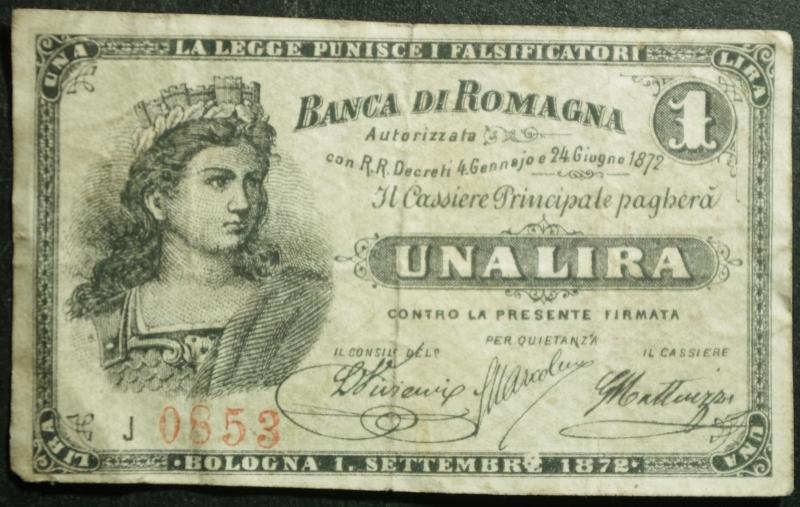 obverse: Banconote. Banca di Romagna Bologna. Biglietto fiduciario da 1 Lira.Italia Turrita 24/06/1872. Rif. Alfa. BB+. RR.