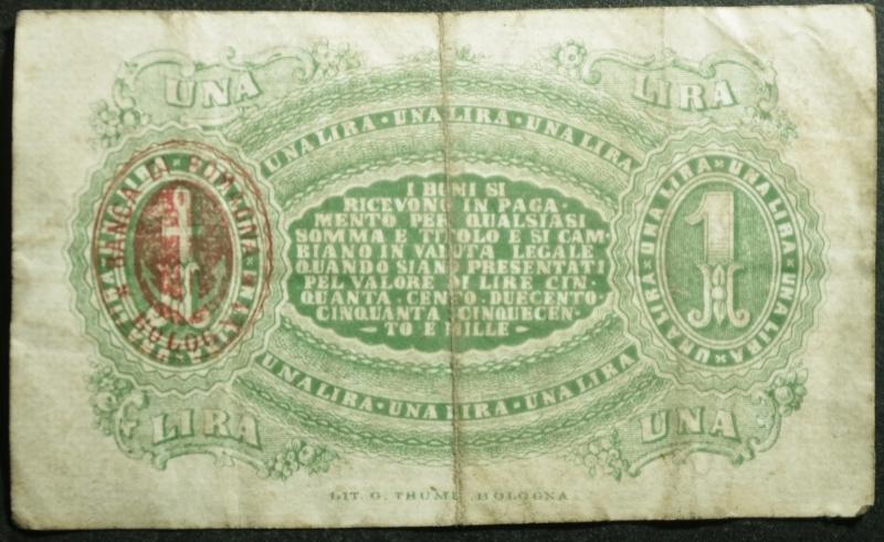 reverse: Banconote. Banca di Romagna Bologna. Biglietto fiduciario da 1 Lira.Italia Turrita 24/06/1872. Rif. Alfa. BB+. RR.