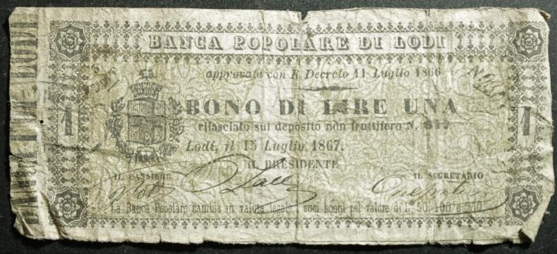 obverse: Cartamoneta.Banca Popolare di Lodi.Bono da 1 Lira 13 luglio 1867.MB