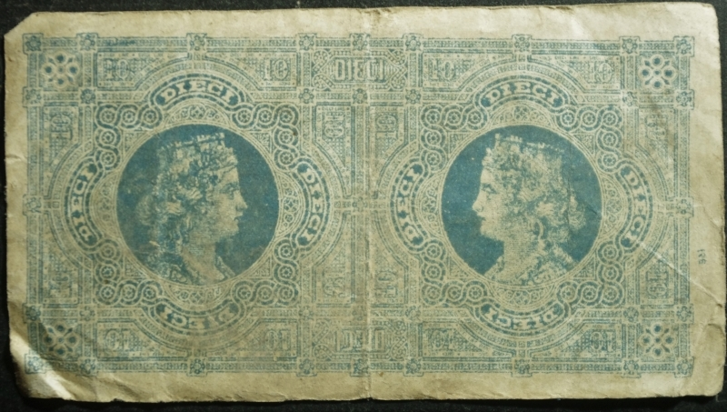 reverse: Cartamoneta.10 LIRE BIGLIETTO CONSORZIALE REGNO D ITALIA 30/04/1874 BB.
