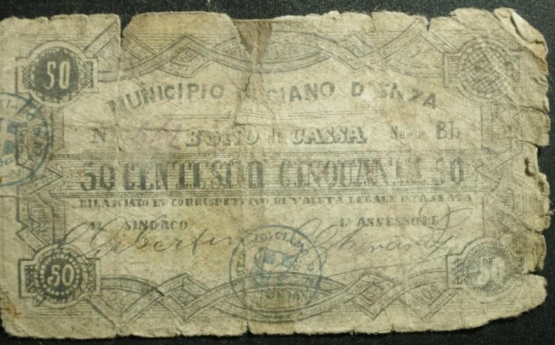 obverse: Cartamoneta.Regno d  Italia. Municipio di Ciano d  Enza RE BONO di CASSA da 50 Centesimi.Firmato dal sindaco Gibertini .MB.RR