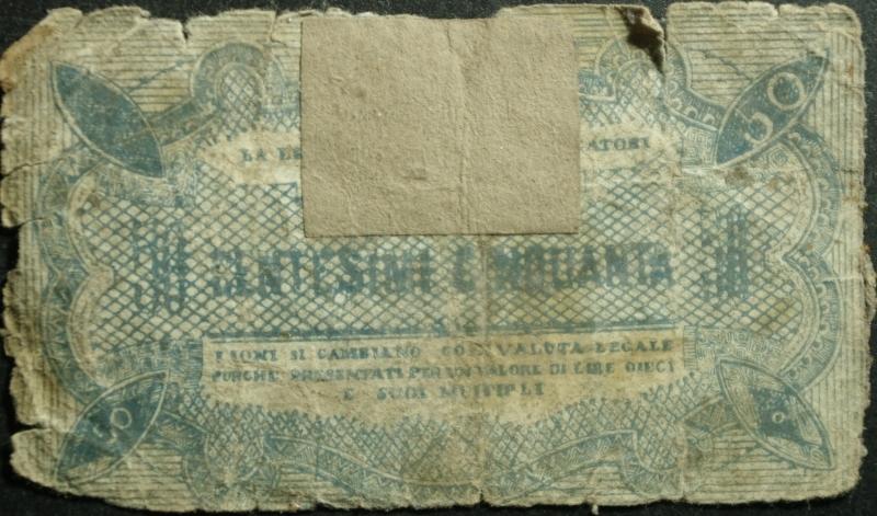 reverse: Cartamoneta.Regno d  Italia. Municipio di Ciano d  Enza RE BONO di CASSA da 50 Centesimi.Firmato dal sindaco Gibertini .MB.RR