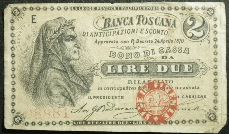 obverse: Cartamoneta.Regno d  Italia.Banca Toscana. Bono da 2 Lire 24 aprile 1870.BB+