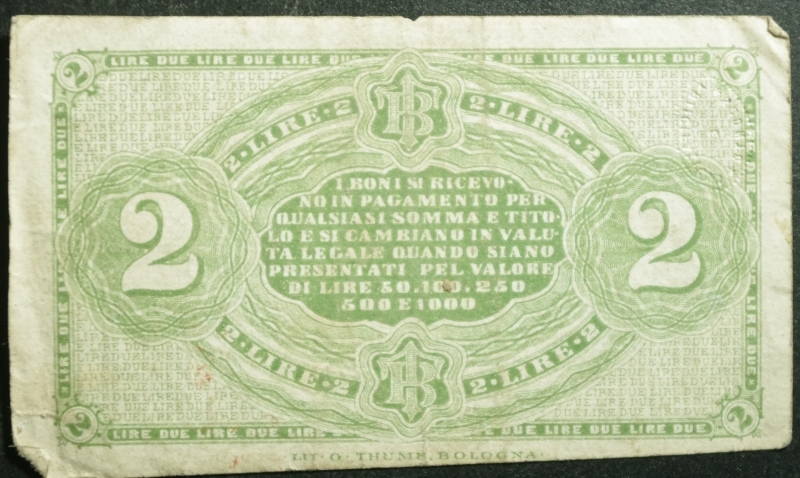 reverse: Cartamoneta.Regno d  Italia.Banca Toscana. Bono da 2 Lire 24 aprile 1870.BB+