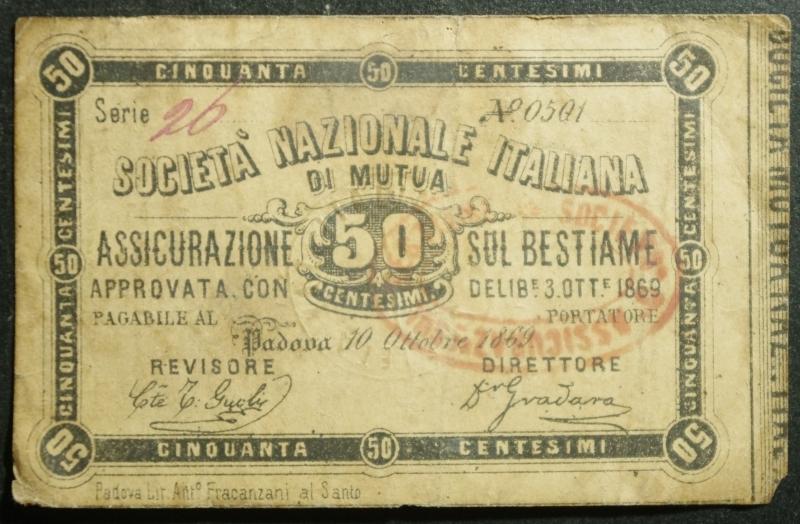 obverse: Cartamoneta.Regno d  Italia. Societ Nazionale Italiana Assicurazione sul Bestiame.50 Centesimi 3 ottobre 1869. BB+