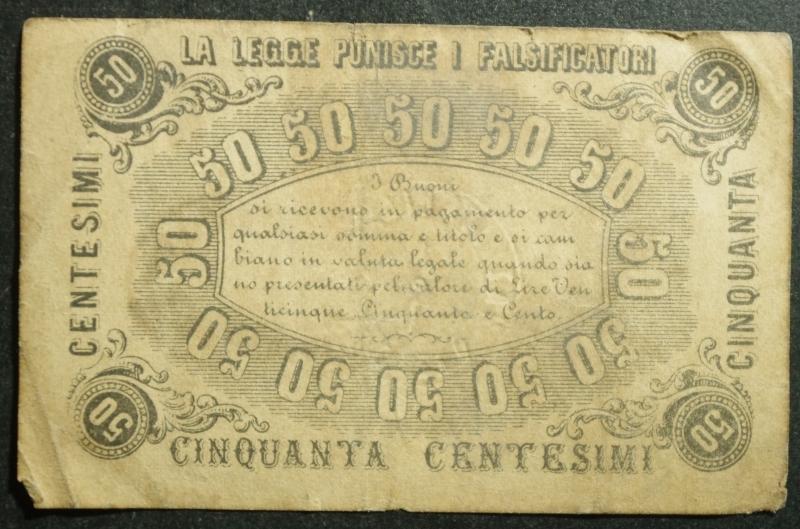 reverse: Cartamoneta.Regno d  Italia. Societ Nazionale Italiana Assicurazione sul Bestiame.50 Centesimi 3 ottobre 1869. BB+
