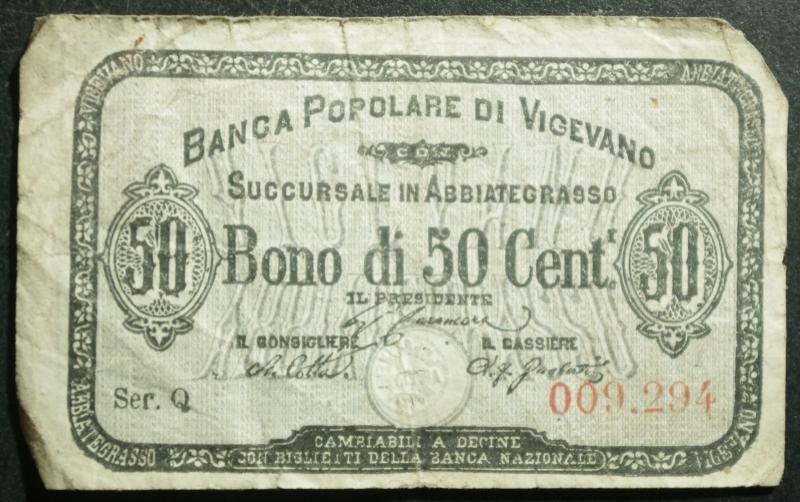 obverse: Cartamoneta.Regno d  Italia. Banca Popolare di Vigevano succursale di Abbiategrasso.Bono di 50 Centesimi.BB.R