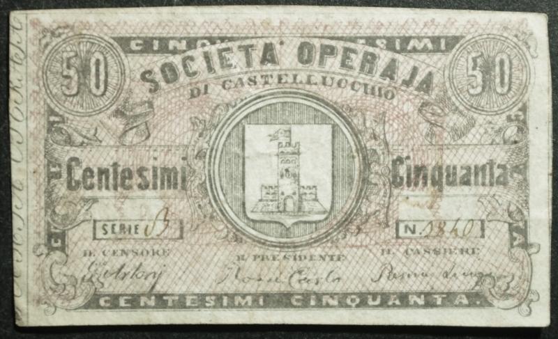 obverse: Cartamoneta.Regno d  Italia.Societ Operaja di Castellucchio.Centesimi 50.BB.R