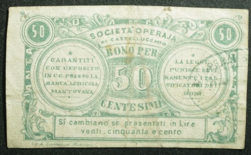 reverse: Cartamoneta.Regno d  Italia.Societ Operaja di Castellucchio.Centesimi 50.BB.R