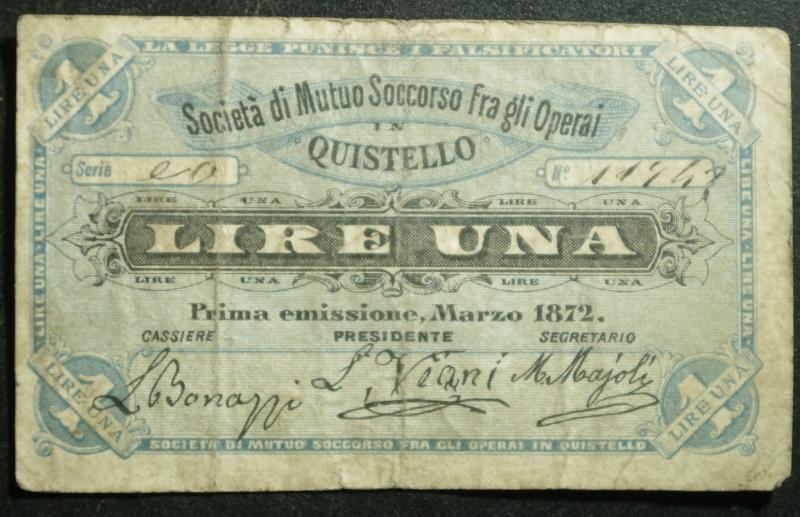 obverse: Cartamoneta.Societ di Mutuo Soccorso tra gli Operai Quistello.Lire UNA.Marzo 1872 Prima Emissione.BB.RR