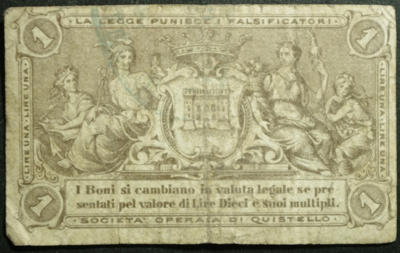 reverse: Cartamoneta.Societ di Mutuo Soccorso tra gli Operai Quistello.Lire UNA.Marzo 1872 Prima Emissione.BB.RR