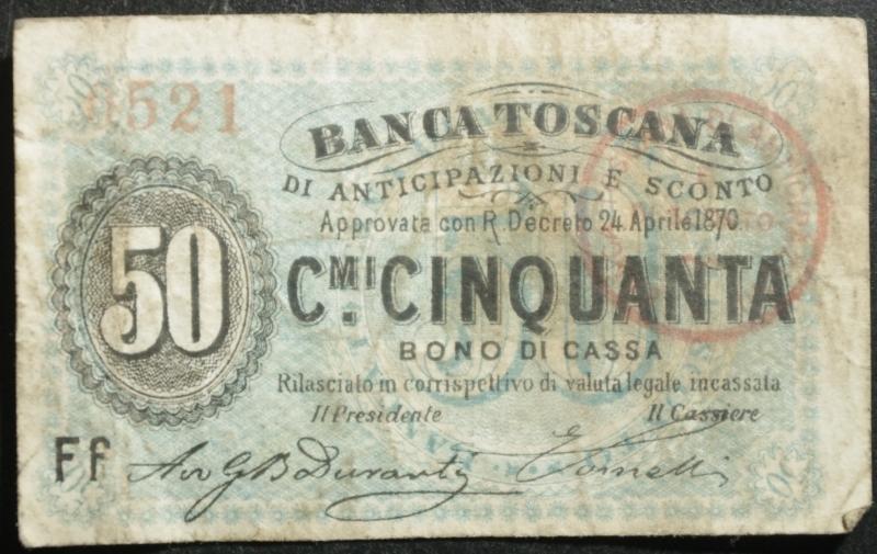 obverse: Cartamoneta.Regno d  Italia.Banca Toscana.50 Centesimi Bono di Cassa. 24 aprile 1870.BB.R