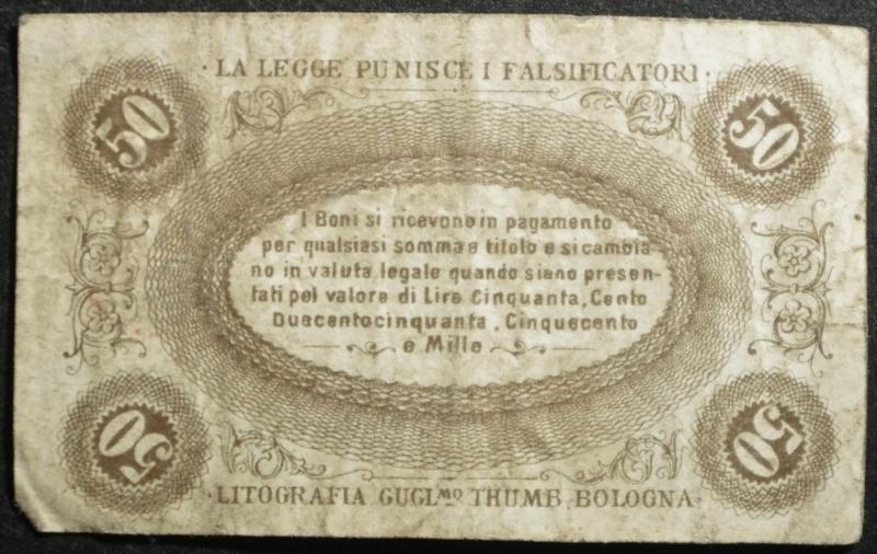 reverse: Cartamoneta.Regno d  Italia.Banca Toscana.50 Centesimi Bono di Cassa. 24 aprile 1870.BB.R
