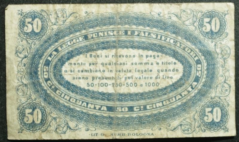 obverse: Cartamoneta.Regno d  Italia.Banca di Romagna (filiale di Cento) 50 Centesimi. 1 Settembre 1872, Bologna.BB.R