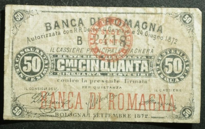 reverse: Cartamoneta.Regno d  Italia.Banca di Romagna (filiale di Cento) 50 Centesimi. 1 Settembre 1872, Bologna.BB.R
