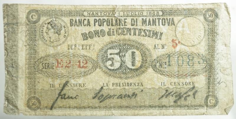 obverse: Cartamoneta.Banca Popolare di Mantova.Bono di centesimi 50. 28 novembre 1867. Raro.BB.