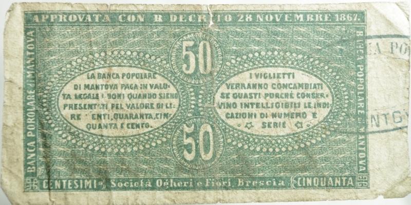 reverse: Cartamoneta.Banca Popolare di Mantova.Bono di centesimi 50. 28 novembre 1867. Raro.BB.