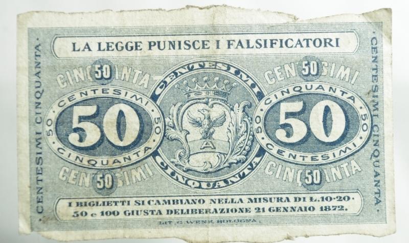 reverse: Cartamoneta.Societ Operaia di Gonzaga.Buono per 50 Centesimi. Per deliberazione di 21 gennaio 1872.BB+
