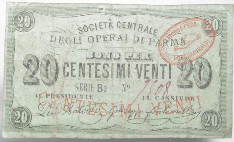 obverse: Cartamoneta.Societ Centrale degli Operai di Parma. Bono per 20 Centesimi.Lavoro e Fede per Garibaldi.BB+