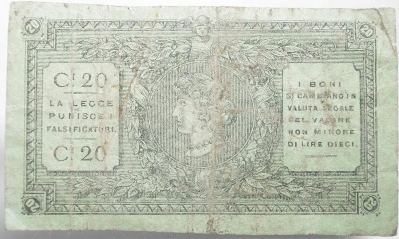reverse: Cartamoneta.Societ Centrale degli Operai di Parma. Bono per 20 Centesimi.Lavoro e Fede per Garibaldi.BB+