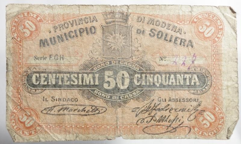 obverse: Cartamoneta.Municipio di Soliera.Provincia di Modena.Centesimi 50 Bono di Cassa.Discreta conservazione.
