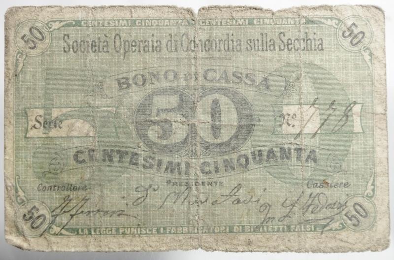 obverse: Cartamoneta. Societ operaia di Concordia sulla Secchia.Bono di Cassa di 50 centesimi.MB.Molto Raro