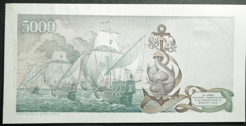 reverse: Cartamoneta . Repubblica Italiana. 5000 lire Colombo 2 Tipo. Decreto 11-14-1973 Carli-Barbarito. Gigante BI67B. FDS.
