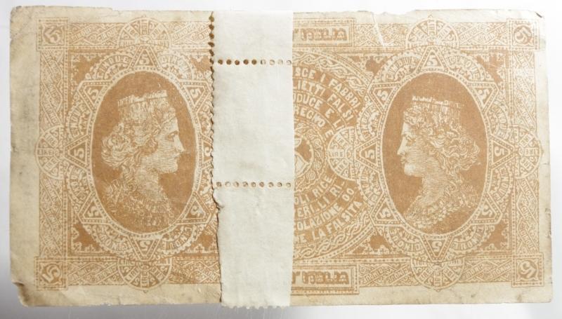 reverse: Cartamoneta.Biglietto Conserziale. vale CINQUE Lire legge 30 aprile 1874.Nastro sul rovescio.BB.Raro