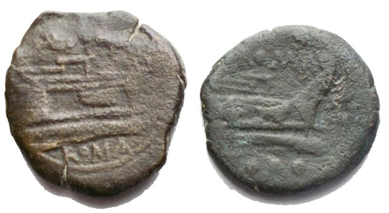 reverse: Lotti - Repubblica Romana. 2 quadranti in Ae di cui uno serie stella