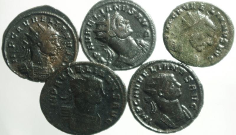 obverse: Lotti.Impero Romano.Aureliano.Lotto di 5 antoniniani, mediamente qBB