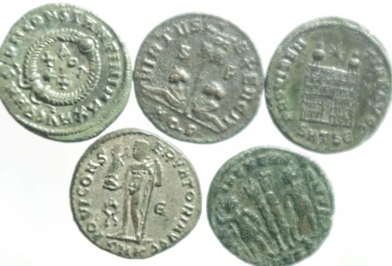 reverse: Lotti.Impero Romano.Costantino Magno.Lotto di 5 monete tutte differenti, mediamente BB.