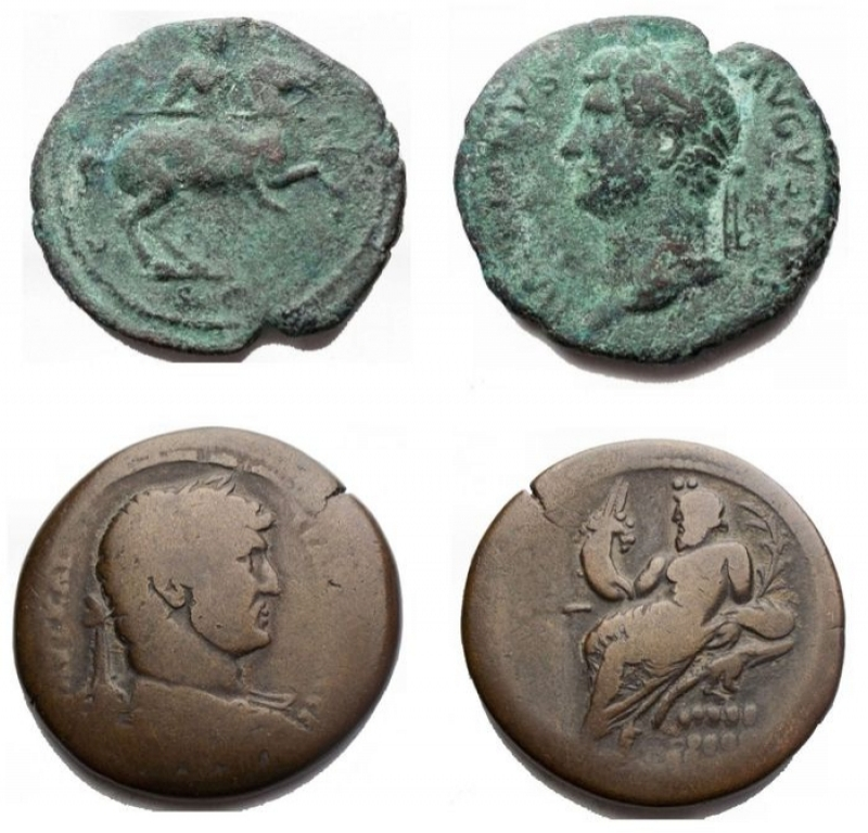 obverse: Roman Empire lot 2 pieces - Hadrian 117-138. As Ae. 132-135. D / Graduated head left r / Hadrian on horseback towards right. RIC II 717; BMCRE 1454; Cohen 498. aVF. Intact green patina. Rare - Hadrian (117-138). Egypt, Alexandria. AE Drachm (33.5 mm - 23.98 gr.). d bust of Hadrian graduated, draped and armored on the right r / Nile lying on a crocodile, on the left, holding a cornucopia, from which emerge a Genius and a cane. Good Fine