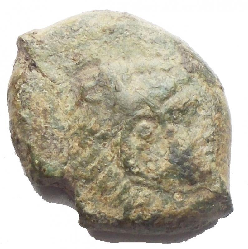 obverse: Mondo Greco -Sicilia.Solus.AE. ca. 400 a.C.D/ Testa di giovane Eracle a destra.R/ Ippocampo a sinistra.Calciati 3.gr. 2,78. BB+RR.Bella patina verde.