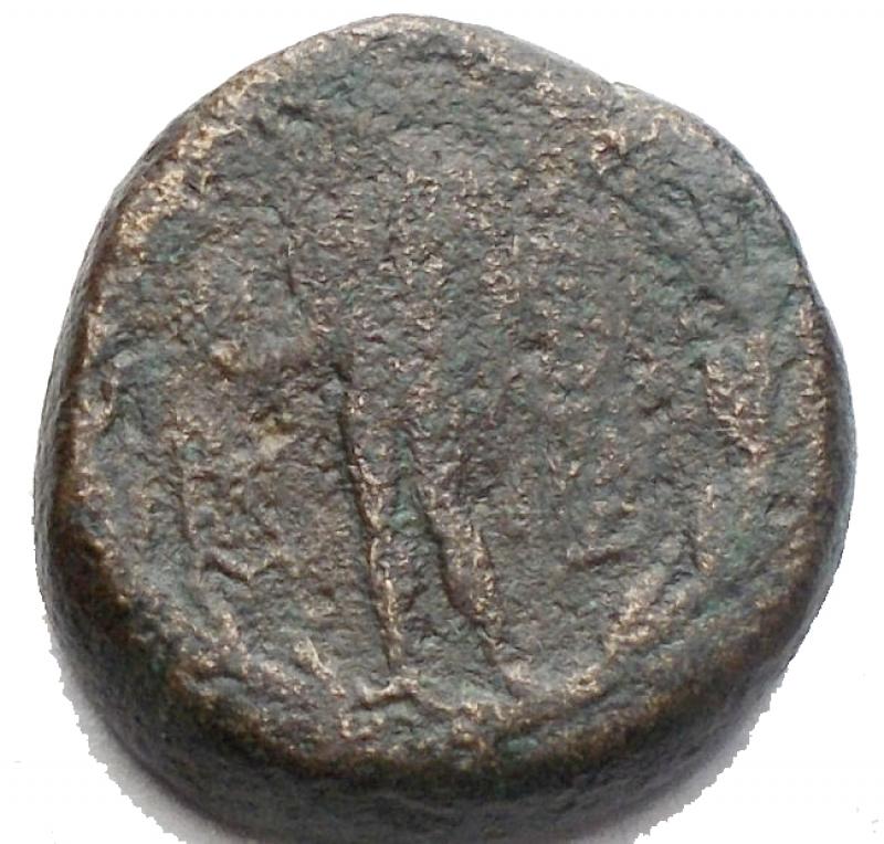 reverse: Mondo Greco -Persia, Sardeis.AE 16,9 mm. 2-1 Sec aC.d/ Testa di Ercole a ds r/ Apollo in piedi stante volto a sn. g 6,37. MB+