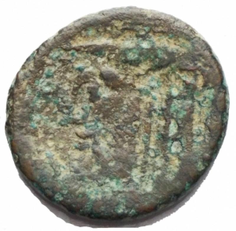 reverse: Mondo Greco . Akarnania, Federal Coinage. AE 19,45 x 20,49 mm, 300-167 ac. d/ Athena a sn r/ Acheloos a sn. g 4,87. SNG Cop. 423. BMC 21. MB. Intonso