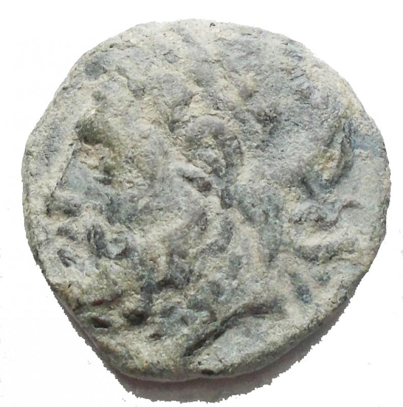 obverse: Mondo Greco - Arpi. Ae. Obolo. 217-213 a.C. d/ Testa di Zeus verso sinistra r/Cavallo al galoppo verso sinistra, sopra una stella, sotto monogramma di Arpi. Peso 3,92 g. Diametro 16,67 x 16,1. BB+.